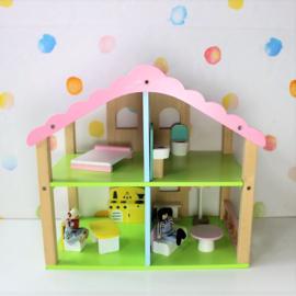 Houten Poppenhuis - Appeltjes Groen met Roze - Refurbished