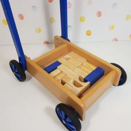 Houten Loopwagen Blokkenkar  Incl. Blokken - Blauw - Refurbished