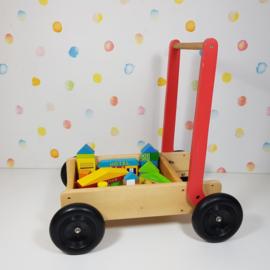 Houten Loopwagen Blokkenkar  Inc. Blokken - Roodroze - Refurbished
