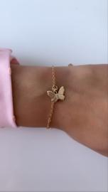 Armband goud met vlinder