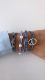 Denim armbandje blauw (4-delig)