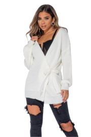 Overslag vest creme met knoopsluiting, one size