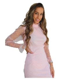 Polkadot jurk zacht roze doorschijnende mouwen