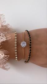Armband goud met strass steentjes (3-delig)