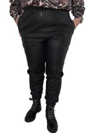 Imitatieleren broek zwart met boordelastiek