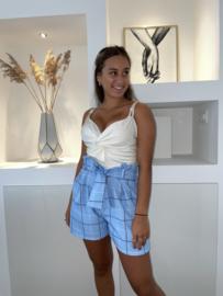 Blok korte broek blauw - Tessa