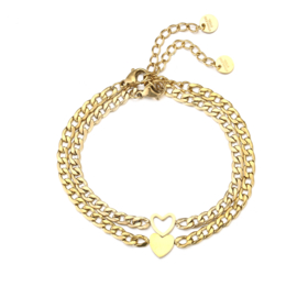 Armband hartjes goud (2-delig)