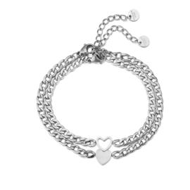 Armband hartjes zilver (2-delig)