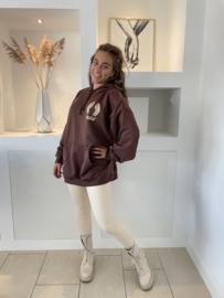 Lange hoodie angel chocolade bruin - Daan