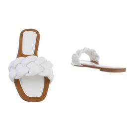 Slippers, wit met gevlochten kabel