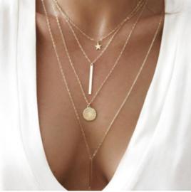Halsketting goud (4-delig)
