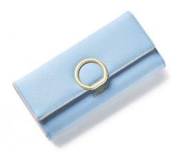 Portemonnee poeder blauw met gouden ring