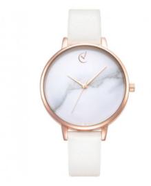 Horloge wit met dunne roségoude band