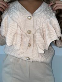 Vest-trui met rouches roomwit - Dewi