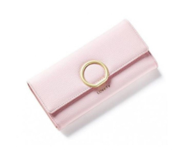 Portemonnee poeder roze met gouden ring
