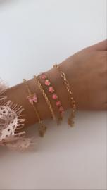 Armband goud roze vlinder (4-delig)