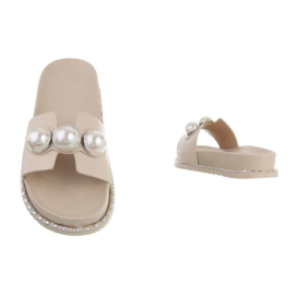 Slippers, beige met parels