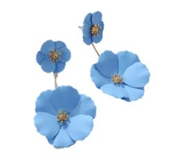 Oorbellen bloem blauw