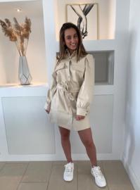 Lederlook beige jurk
