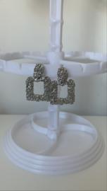 Oorbel zilver vierkant
