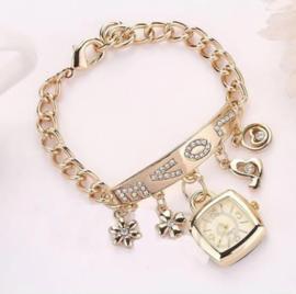 Armband horloge goud 'love'