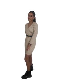 Beige gebreide  jurk met riem