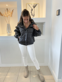 Puffer oversized jacket fakeleer zwart - Sharina