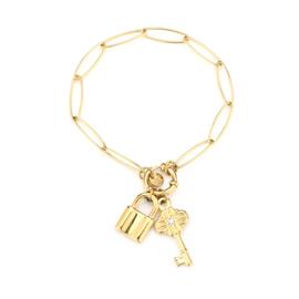 Armband grof met slotje en sleutel goud