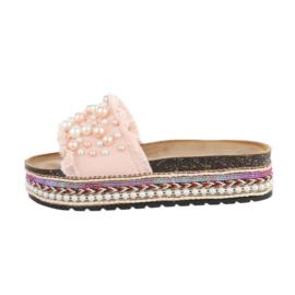 Slipper, roze met parels