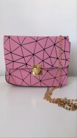 Schoudertas geometrisch roze