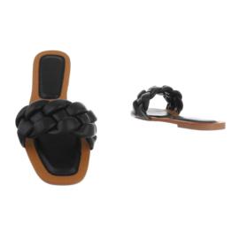 Slippers, zwart met gevlochten kabel