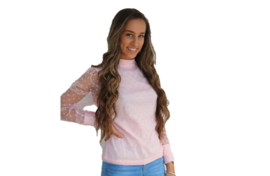 Poederroze blouse met stippen