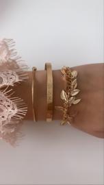 Armband goud met blaadjes (3-delig)