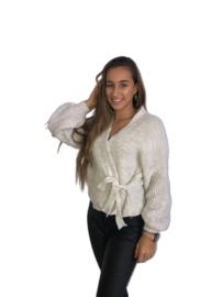Gebreide  trui met overslag beige, one size