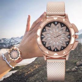 Horloge rosé goud met bloem