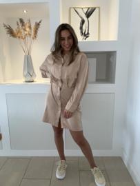 Blouse jurk beige