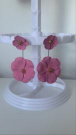 Oorbellen bloem roze