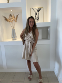 Satijn jurk champagne