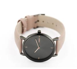 Horloge zwart met taupe band