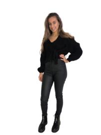 Gebreide trui met overslag zwart
