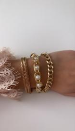 Armband goud stoer met parels  (3-delig)