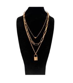 Gouden ketting hart/slot (3-delig)
