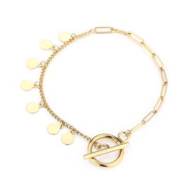 Armband kapitel slot met muntjes goud