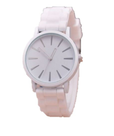 Horloge wit silicone band