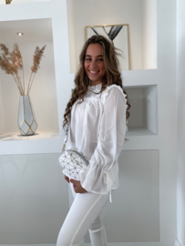 Blouse wit met ruches Melissa