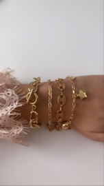 Armband goud ster  (4-delig)