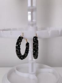 Bergkristal oorbellen zwart