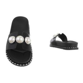 Slippers, zwart met parels