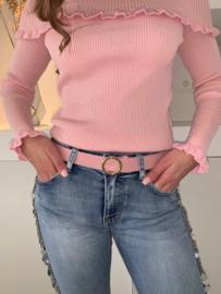 Riem roze met ronde gesp