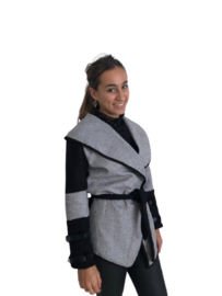 Overslag jas grijs-zwart, one size